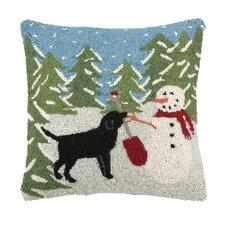 Snow Playing Hook Wool Throw Pillow