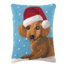 Christmas Dachshund Hook Wool Throw Pillow