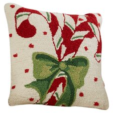Candycane Hook Wool Throw Pillow