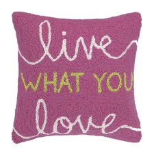 Live What You Love Square Hook Wool Throw Pillow