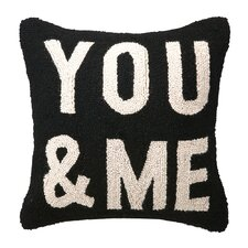 You & Me Square Hook Wool Throw Pillow