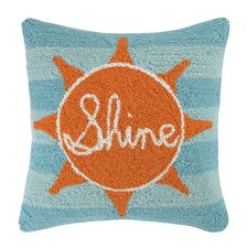 Sun Shine Square Hook Wool Throw Pillow