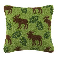 Moose and Leaf Repeat 100% Cotton Throw Pillow
