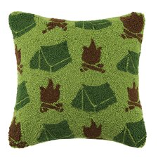 Tent and Campfire Repeat 100% Cotton Throw Pillow