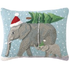 Christmas Elephants Hook Wool Throw Pillow
