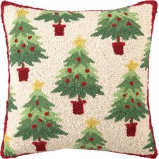 Needlepoint Christmas Collage Tree Hook Wool Throw Pillow