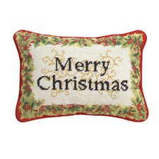 Merry Christmas Needlepoint Lumbar Pillow