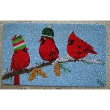 Merry Christmas Birds with Cap Coir Doormat