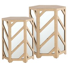 2 Piece Madison Mirrored Side Table Set