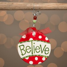 Believe with Polka Dots Flat Ornament