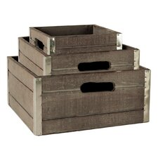 3 Piece White Wash Crate Set