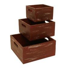 3 Piece Red Weathered Wood Storage Box Set (Set of 3)