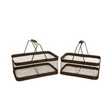 2 Piece Brown Weathered Metal Wire Basket Set (Set of 2)