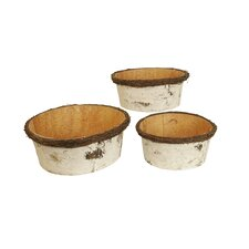 3 Piece Birch Bark Bowl Set (Set of 3)