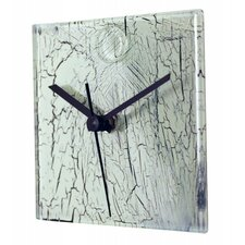 Square Glass Wall Clock with Crackle Effect