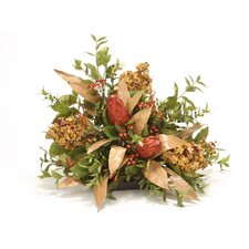 Burgundy Hydrangea, Berry, Protea, Myrtle Topper in Decorative Vase