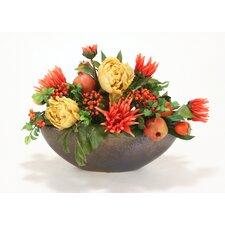 Fall Peonies, Dahlias, Berries, Fruit Garland in Rustic Oval Bowl