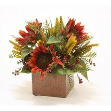 Rust Sunflowers in Autumn Ceramic Planter