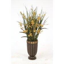 Orchids, Wild Grass, Dragonwood Limbs in Tall Medallion Urn