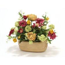 Colorful Flower Mix in Milu Ceramic Planter