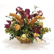Amethyst, Gold, Rose Mauve, Greenin Oval Fluted Brass Planter