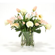 Waterlook Spring Mix with Freesia, Tulips and Lilies in Rectangular Glass Vase