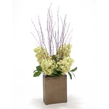 Green Rose Peegee Hydrangeas and Bay Leaves in Rectangular Ceramic Vase
