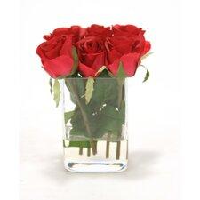 Waterlook Six Red Roses in Glass Vase