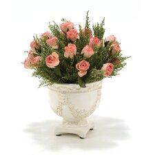 Pink Rose Bud, Stoebe in Aged Lion Garland Planter