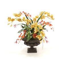 Orchid Garden in a Large Leather Ribbed Urn
