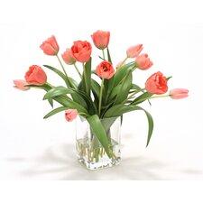 Waterlook Elegant Tulips in Glass Vase