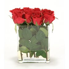 Waterlook Red Roses in Clear Glass Urn