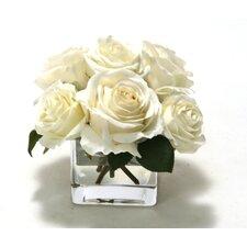 Waterlook White Rose Buds in Rectangular Glass Vase