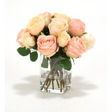 Waterlook Cream-Pink Roses in Square Glass Vase