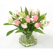 Waterlook Pink Tulip Bundle with Snowballs in Square Glass Vase