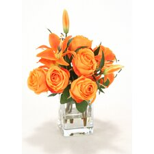 Waterlook Orange Rose, Lilies in Square Glass Vase