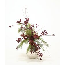 Holiday Berry and Greenery in Hand Hammered Vase