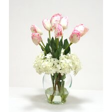 Pink/White Tulips with Hydrangea in Glass Vase