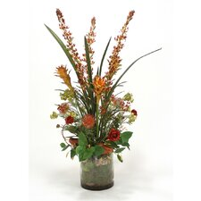 Red and Burgundy Garden Flower Mix in Glass Cylinder