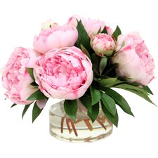 Large Peonies and Medium with Buds in Glass Vase