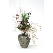Glittered Branches with Pine in Tortoise Vase