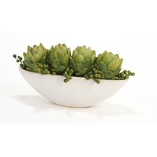 Artichokes and Berries in Narrow Oval Bowl