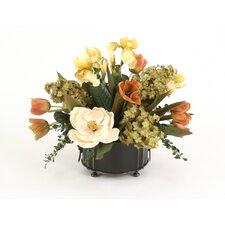 Tulips, Hydrangeas, Irises, Magnolia in Metal Planter