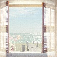View Through Shutters by Malcolm Sanders Canvas Wall Art