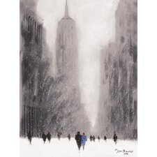 "Leinwandbild ""Heavy Snowfall, 5th Avenue - New York"" von Jon Barker, Kunstdruck"