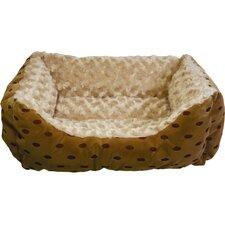 Polka Dot Cuddler Bolster Dog Bed with Swirl