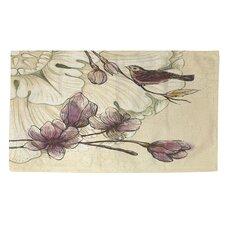 Rosette Bird Tan/Purple Area Rug
