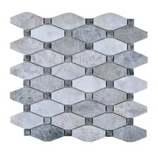 "11.75"" x 11.75"" Stone Mosaic Tile in Gray"