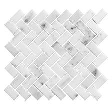 """1"""" x 2"""" Stone Mosaic Tile in White"""