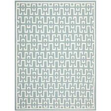 Handgewebter Teppich Dhurrie Azilal in Grün/Elfenbein